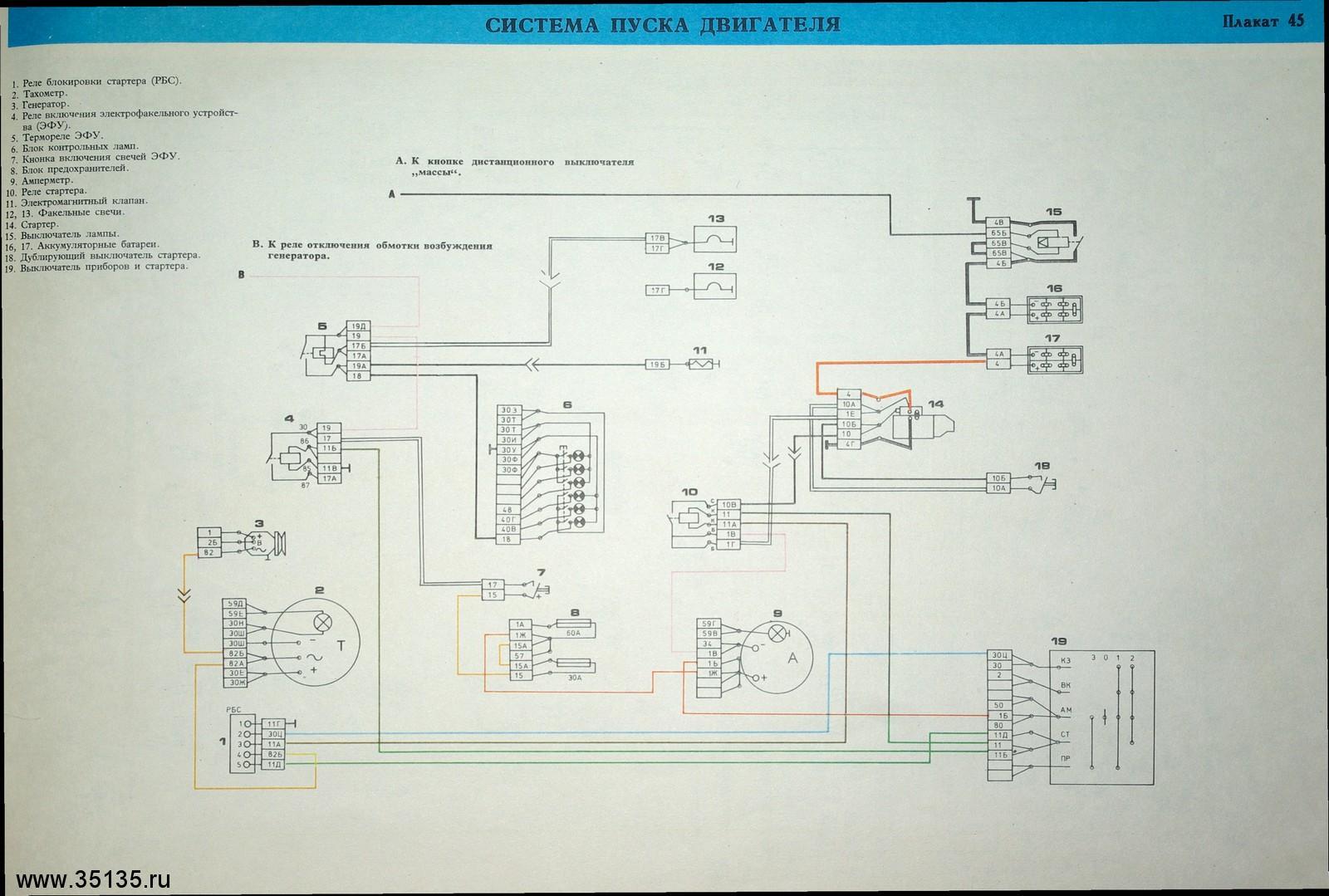 Схема электропроводки урал с двигателем ямз 236